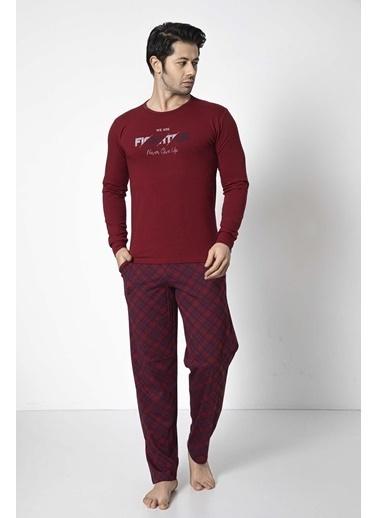 Aydoğan Erkek Modal Kırmızı Altı Ekoseli Üstü Düz Pijama Takımı Renkli